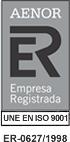 Aenor Empresa Registrada - UNE EN ISO 9001 - ER - 0627/1998